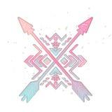 Frecce attraversate con l'ornamento tribale azteco Illustrazione di vettore Fotografia Stock