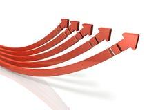 5 frecce in aumento Mostra la cooperazione e la crescita insieme Fotografia Stock