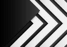 03 Frecce in bianco e nero su fondo nero con il porcile di carta di arte royalty illustrazione gratis
