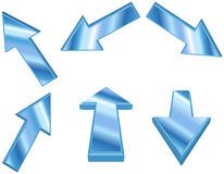 frecce blu metalliche 3D Immagini Stock