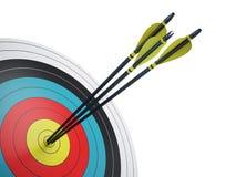 Frecce che colpiscono il centro dell'obiettivo Fotografia Stock Libera da Diritti