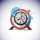 Frecce che colpiscono il centro dell'orologio di parete Concetto di tempo di successo - Fotografia Stock