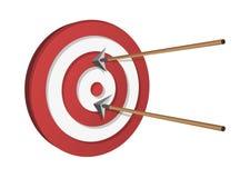 Frecce che colpiscono un obiettivo Immagini Stock Libere da Diritti
