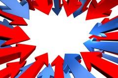 Frecce che designano al centro. Fotografia Stock
