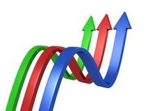 Frecce colorate curve su priorità bassa bianca Fotografia Stock Libera da Diritti