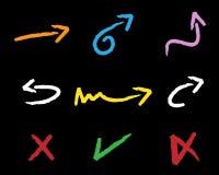 Frecce colorate del gesso - illustrazione della mano Fotografie Stock Libere da Diritti