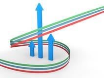 frecce 3d e nastri in aumento verticali Fotografia Stock Libera da Diritti