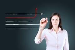 Frecce del disegno della donna di affari nelle direzioni differenti Priorità bassa per una scheda dell'invito o una congratulazio Immagini Stock