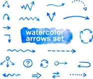 frecce dell'acquerello messe, disegnato a mano Fotografie Stock