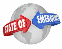 Frecce dello stato d'emergenza intorno al mondo Cris globale internazionale Fotografia Stock