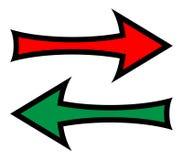 Frecce destre e sinistre di direzione illustrazione vettoriale