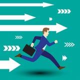 Frecce di bianco di Running Forward With dell'uomo d'affari illustrazione di stock