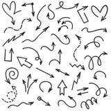 Frecce di Doodle La scrittura scribacchia la linea sagittarie di schizzo Freccia isolata sull'insieme bianco di vettore del fondo royalty illustrazione gratis