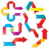 Frecce di origami di colore di vettore Fotografie Stock