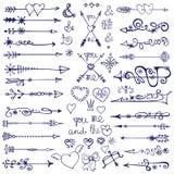 Frecce di scarabocchio, elemento della decorazione, fiocchi di neve Amore di inverno Fotografia Stock