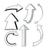 Frecce di tiraggio della mano illustrazione vettoriale