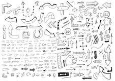 Frecce disegnate a mano Immagine Stock