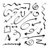 Frecce disegnate a mano di vettore Immagini Stock