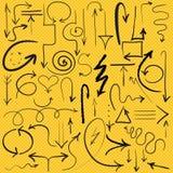 frecce disegnate a mano di vettore, insieme Immagini Stock Libere da Diritti