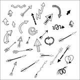 Frecce disegnate a mano di vettore semplice ed alla moda Immagini Stock