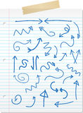 Frecce disegnate a mano in linea documento Fotografia Stock Libera da Diritti
