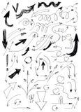 Frecce disegnate a mano messe Immagini Stock