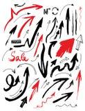 Frecce disegnate a mano messe Fotografia Stock Libera da Diritti