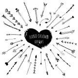 Frecce disegnate a mano ornamentali per la decorazione della pagina Immagini Stock Libere da Diritti