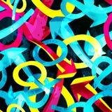 Frecce e cerchi su un graffito senza cuciture del modello dell'estratto nero del fondo illustrazione vettoriale