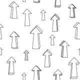 Frecce e puntatori alti in bianco e nero imprecisi modello senza cuciture, vettore Immagini Stock Libere da Diritti