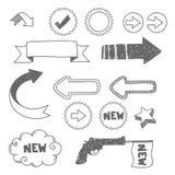 Frecce ed elementi disegnati a mano Immagini Stock