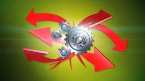 Frecce ed ingranaggi su fondo verde con l'alfa illustrazione di stock