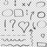 Frecce ed insieme disegnati a mano dell'icona dei cerchi Raccolta dello ske della matita Immagine Stock