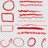 Frecce ed insieme disegnati a mano dell'icona dei cerchi Raccolta dello ske della matita Fotografia Stock Libera da Diritti