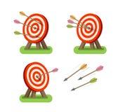 Frecce ed obiettivo rotondo che stanno sul treppiede Scopo, fine, icona di accuratezza o simbolo Illustrazione di vettore Fotografia Stock Libera da Diritti