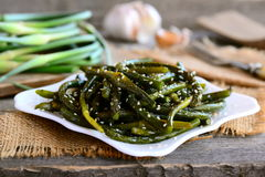 Frecce fritte dell'aglio con le spezie ed i semi di sesamo Frecce verdi piccanti dell'aglio su un piatto Semplice, a buon mercato Fotografia Stock