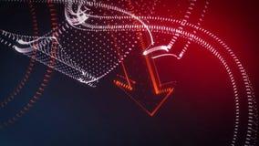 Frecce giranti della nuvola del punto del fondo astratto 3D Illustrazione Vettoriale