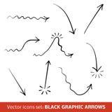 Frecce grafiche nere messe. Illustrazione di vettore Fotografie Stock