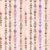 Frecce indiane della lavanda e di rosa Modello senza cuciture dell'acquerello fotografia stock