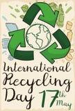 Frecce intorno al globo ed agli scarabocchi per commemorare riciclaggio del giorno, illustrazione di vettore illustrazione di stock