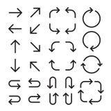 Frecce piane nere messe Stile stampato in neretto Illustrazione di vettore isolata su priorità bassa bianca illustrazione vettoriale