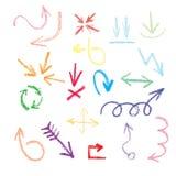 Frecce, puntatori - nello scarabocchio di stile Immagini Stock Libere da Diritti