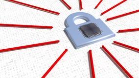Frecce rosse che colpiscono un lucchetto d'argento sul pavimento casuale della lettera con Fotografia Stock Libera da Diritti