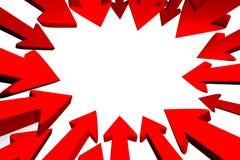 Frecce rosse che designano al centro Fotografia Stock Libera da Diritti