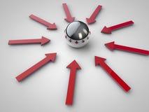 Frecce rosse che indicano la sfera Immagini Stock Libere da Diritti