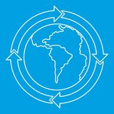 Frecce rotonde intorno all'icona del pianeta del mondo Immagine Stock
