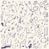 Frecce semplici disegnate a mano messe Immagine Stock Libera da Diritti