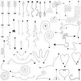 Frecce semplici disegnate a mano messe fatte nel vettore Fotografie Stock Libere da Diritti