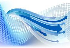 Frecce su priorità bassa punteggiata blu. Immagine Stock