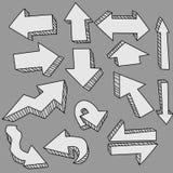 Frecce sveglie di doodle Fotografie Stock Libere da Diritti